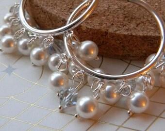 Hoop Earrings Pearl, Pearl Cluster Earrings, Sterling Silver Hoop Earrings, Bridal Jewelry, Wedding Jewelry