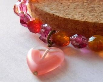 Pink Stacking Bracelet Heart Charm bracelet Heart Bracelet Lemonade Bracelet Valentines Day Bracelet Womens Fashion