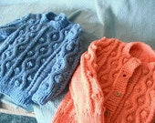 Salmon Bubbles and Squiggles Toddler Button Up Sweater and blue pullover