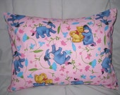 One Childrens Pillow Removeable Cover 12 x 16 in Pooh and Eeyore Spring Flowers - Pink, Turquoise, Blue, Green, Red and Yellow