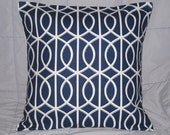Pillow. Navy Blue. White. Geometric. 18 x 18. Accent Pillow Cover. Decorative Pillow
