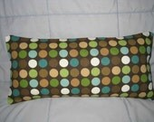 Decorative Accent Pillow Cover 8 x 16 in Brown, Green, Aqua and White Dots with Insert