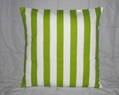 Pillow. Green and White. Stripes. 20 x 20. Accent Pillow Cover