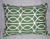 Pillow Cover. Green. White. Geometric. 12 x 16. Accent Pillow Cover