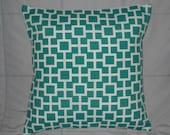 Turquoise. White. Decorative Pillow Cover. Geometric. 16 x 16. Lattiscape. Pillow Cover