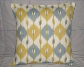 Pillow. Yellow. Blue Gray. Cream. Ikat. 16 x 16. Decorative Pillow Cover. Accent Pillow Cover