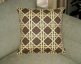 Decorative Pillow Cover.16 x 16. Brown. Golden Tan. Lattice Print. Pillow Covers