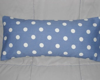 Decorative Accent Pillow Cover 7 x 17 in Blue and White Polka Dots with Insert