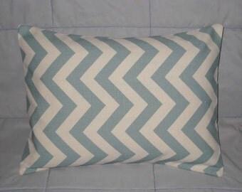 Pillow Cover. Blue. Natural. Chevron. Zig Zag. 12 x 16. Accent Pillow Cover. Decorative Pillow Cover