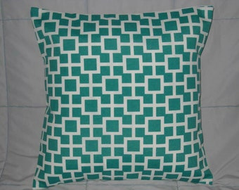 Turquoise. White. Decorative Pillow Cover. Geometric. 16 x 16. Lattiscape. Pillow Cover