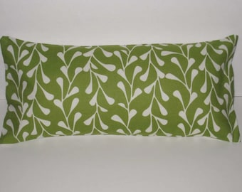 Pillow. Green and Ivory. Vines with Insert. 8 x 17. Accent Pillow