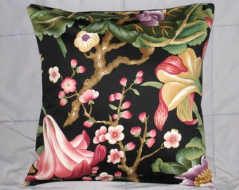 Decorative Pillow Cover. Black. Green. Pink. Purple. Cranberry. Beige. Floral. 16 x 16. Accent Pillow Cover