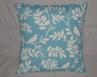 Pillow Cover. Aqua. Off White. White. Birds. Vines. Leaves. 18 x 18.  Accent Pillow Cover. Decorative Pillow Cover