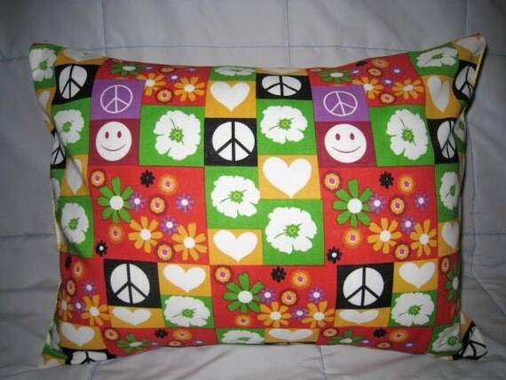 One Childrens Pillow Removeable Cover 12 x 16 in Peace, Happy Faces, Flowers and Hearts - Red, Purple, Green, Yellow, Black and White