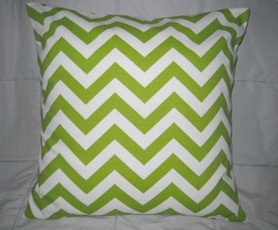Decorative Pillow Cover. Green. White. Chevron. Zig Zag. 18 x 18. Accent Pillow Cover