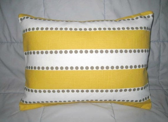 Pillow Cover. Yellow. White. Taupe. 12 x 16. Accent Pillow Cover. Decorative Pillow Cover