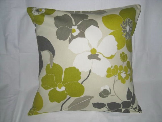 SALE - Decorative Pillow Cover 20 x 20. Green. Taupe. Ivory. Gray. Floral. Accent Pillow Cover