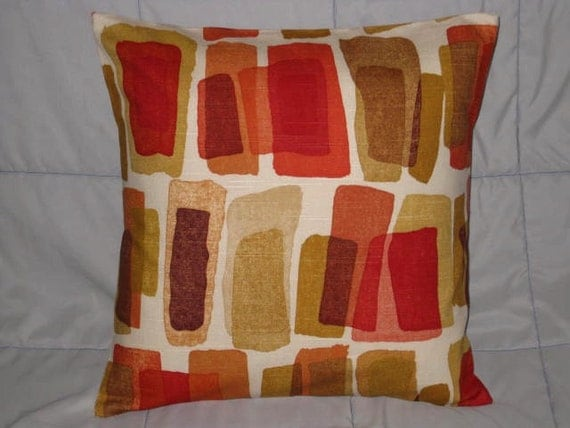 Red Brown Beige Throw Pillows : Pillow Cover. Red. Brown. Beige. Yellow. Orange. Cream. 16 x