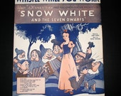 "Snow White & The Seven Dwarfs ""Whistle While You Work""  Vintage Sheet Music"