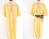 SALE Vintage 80s yellow cotton Avant Garde shirt dress