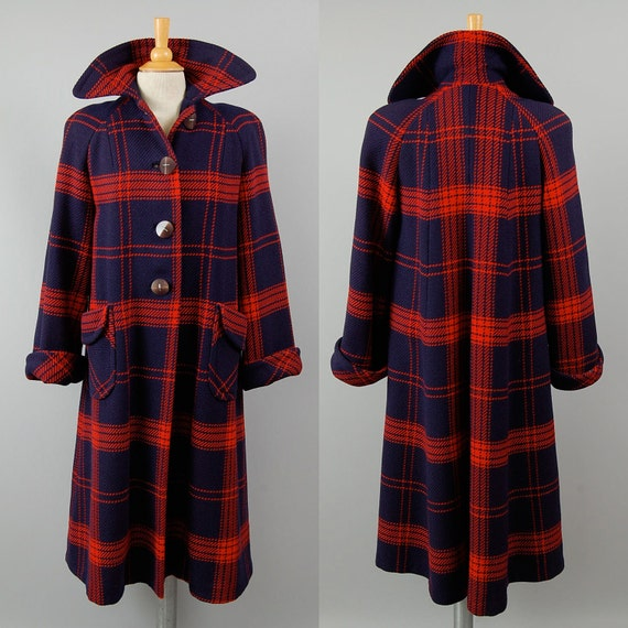 40s 50s navy red Plaid wool coat