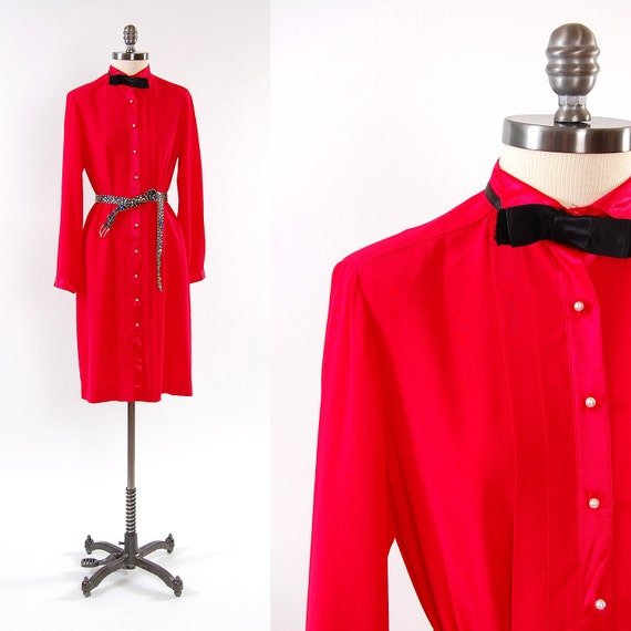 SALE Vintage 1980s red TUXEDO style shirt dress