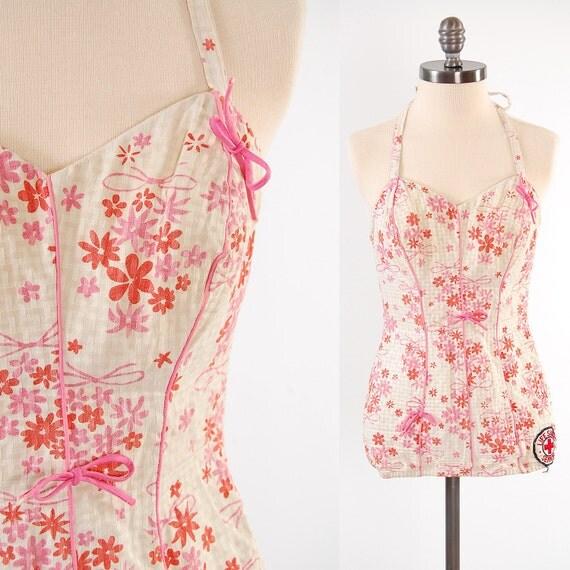 SALE vintage 1950s SEA LURE pink floral swimsuit unique Life Guarding Senior patch
