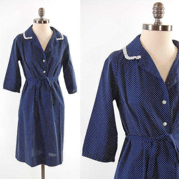 SALE Vintage 80s navy Dotted Swiss mini dress / Simple and Sweet