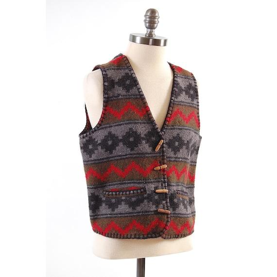 SALE Vintage 80s knit wool Southwestern vest / Tribal design