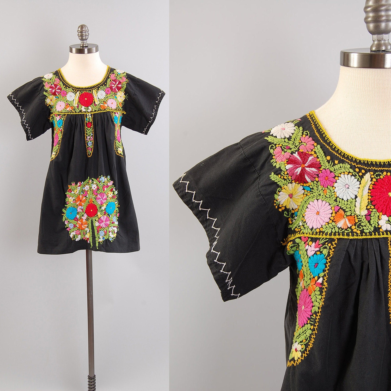 S black mexican embroidered mini tunic dress or top
