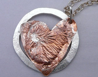 Silver and copper heart pendant - handmade - textured -mixed metal