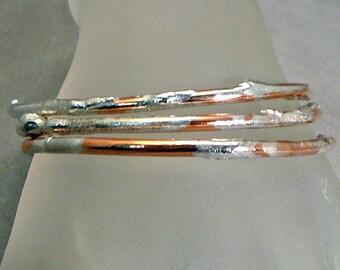 Trio of copper and silver bangle bracelets handmade