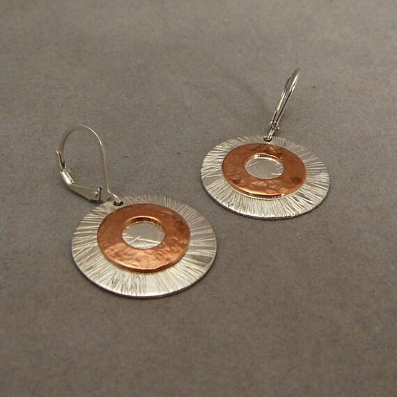 Sterling silver and copper handmade dangle earrings