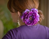 Juliette Hair Clip - Purple/Plum/Eggplant Flower Fascinator (Free Shipping to US and Canada)