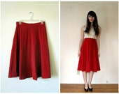 Vintage 1950s Skirt // Red Corduroy // m - l