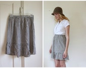 Vintage 1960's Checked High Waisted Mini Skirt // s