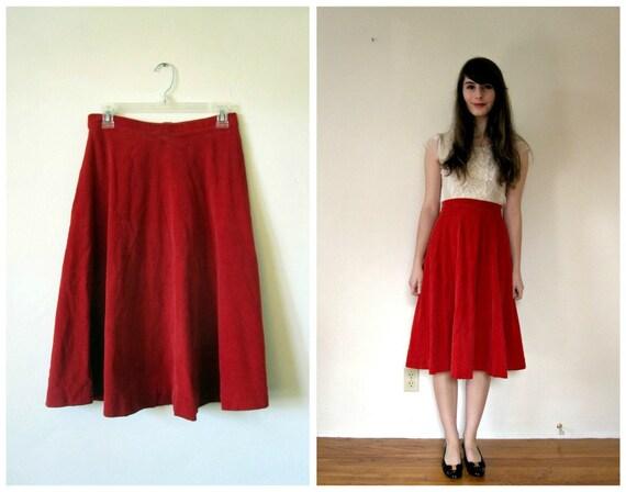 Vintage 1950s Skirt // Red Corduroy // m - l