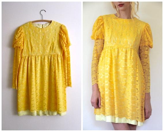 Vintage 1960's Mustard Lace Mini Dress // s