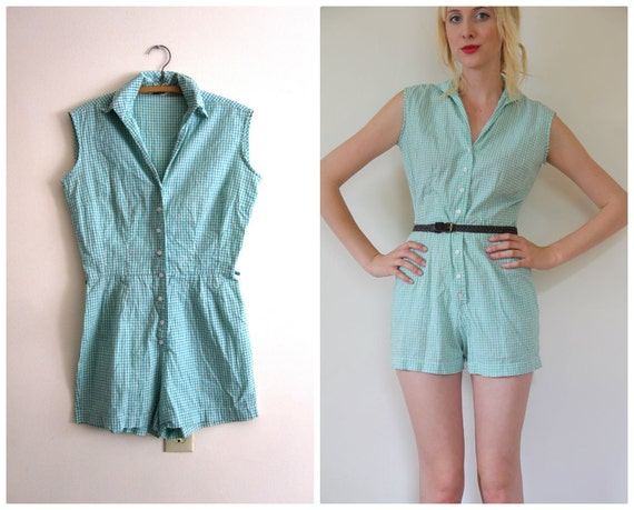 Vintage 1950's Romper Playsuit // Pin Up Gingham // s