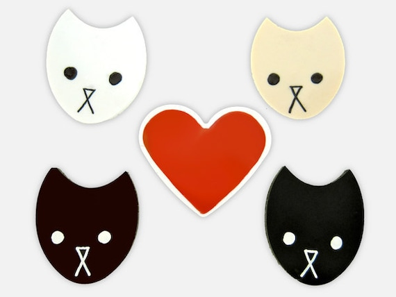 Heart Cat - Multicultural, Cat Magnets, Kitchen Magnet Set, Friend Magnet