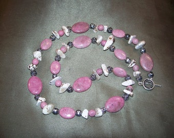 Genuine Rhodonite Ovals and Howlite Chip Necklace by Mama's Got A Bead Box on Etsy