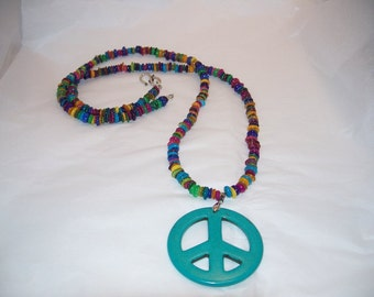 Turquoise peace sign on gorgeous mother of pearl rondelles necklace by Mama's Got A Bead Box on Etsy, peace sign, statement necklace, xmas