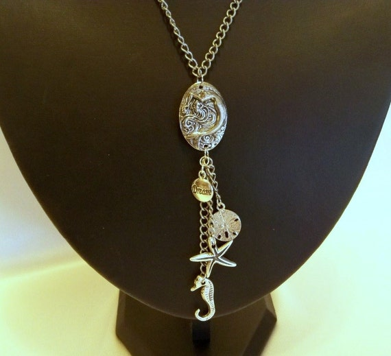 Mermaid Charm Necklace on Antique Silver Chain with Antique Sterling Silver Charms by Mama's got a Bead Box on Etsy