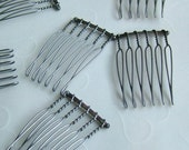 6 pieces of Antique Silver Tone 6 teeth Hair Comb - 22 x35 mm