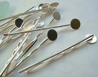 12 pieces of Silver Plated Bobby Pins with 10 mm Round Pad -- 65mm