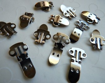 20 Pieces of Nickel Plated T - Shoe Clip Blanks (10 pairs)