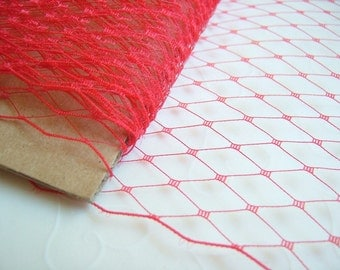 1 Yard 9 inches wide Russian/French veiling -- RED