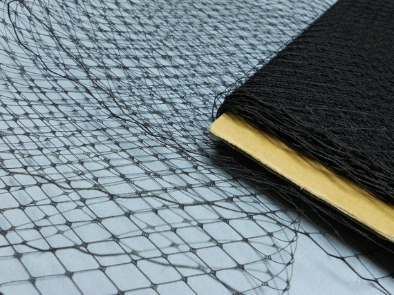 1 Yard 9 inches wide BLACK Birdcage Russian/French Veiling