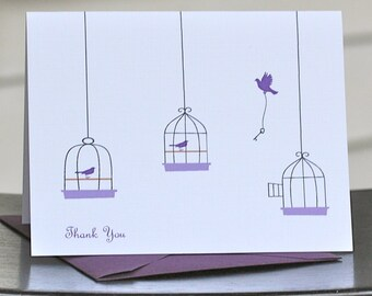 Bird Thank You Cards, Bird Note Cards, Bird Stationery, Bird Stationary, Birds, Birdcage, Thank You Cards