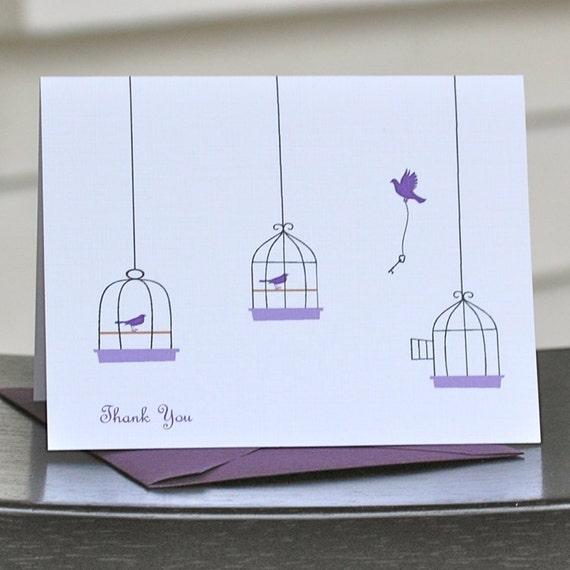 Bird Thank You Cards, Bird Note Cards, Bird Stationery, Bird Stationary, Birds, Birdcage, Thank You Cards